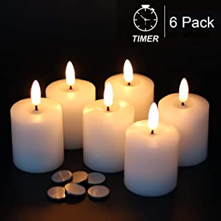 GenSwin Flameless Pillar Candles ing with Timer, Battery Operated Real Wax LED Votive 3D Wick Candles 6 Pack White(Battery...