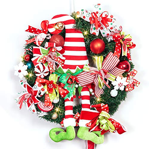 ALLYORS Christmas Elf Door Wreath Decoration with Candy Strip Hat and Dangle Leg, Ribbon Bow, Candy Cane, Ball Ornaments and 20 Led Lights for Themed Home Party Décor (RED&White ELF HAT)