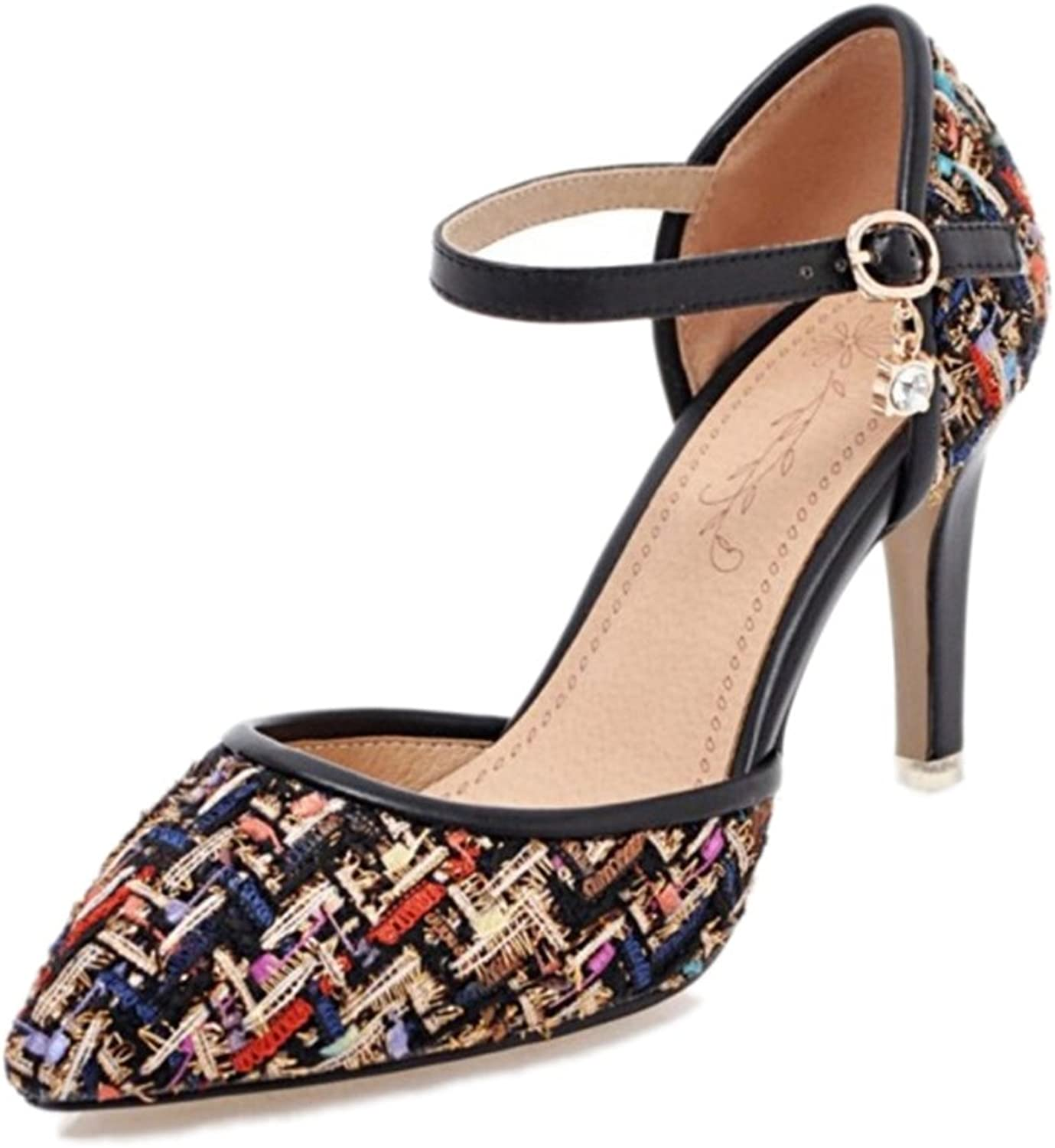 Mo Joc Pumps with Thin Heel and Pointed Toe Elegant Plaid Sandals with Large Black