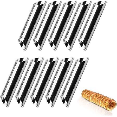 10 Pezzi di Cannoli in Acciaio Inossidabile, Stampo per Croissant a Vite, Stampo per Corno Torta a Spirale Fai-Da-Te, Stampo per Corno Crema Antiaderente, per Tubi per Cannoli Croissant Cottura