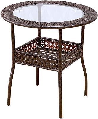 コーヒーテーブル なめらかなミニマリストの錬鉄製の小さなコーヒーテーブル 丸い収納テーブル オフィスミニカジュアルマガジンテーブル バルコニーレジャーテーブル (Color : Brown, Size : 60x60cm)