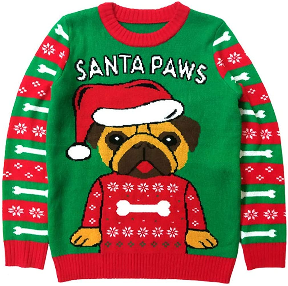 Santa Paws Pug Ugly Christmas Sweater Gift for Boys Girls 6yr - 12y Kids Sweater