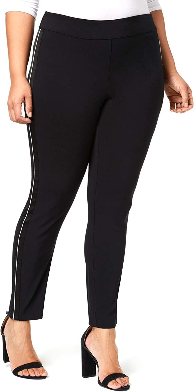 INC Womens Plus Contrast Trim Satin Stripe Skinny Pants Black 20W
