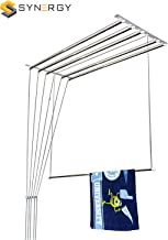 SYNERGY - Heavy Duty - Stainless Steel (6 Pipes x 6 Feet) Ceiling Clothes Hanger/Cloth Dryer with UV Protected Nylon Rope and Individual Drop Down Railers (SY-CL3)