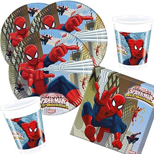 36-teiliges Party-Set Spiderman Web Warriors - Teller Becher Servietten für 8 Kinder