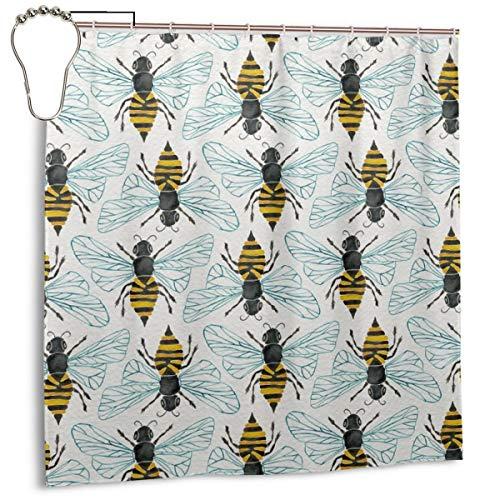 Jacklee Honey Bee Duschvorhang 180 * 180cm Anti-Schimmel & Wasserabweisend Shower Curtain mit 12 Duschvorhangringen 3D Digitaldruck