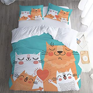 QC Home store Deluxe 3 Piece Fade Resistant,King Bed Sheet 3 Piece Set,Funny Decor Cute Kitten Couple Sweet Happy Paws Loving He Family Cats Poster Style Animal Theme Pillowcase,Bed Sheet.