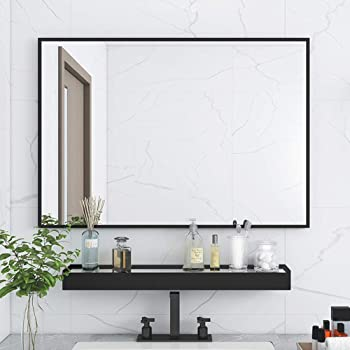 Amazon Com Sild Large Modern Black Aluminum Wall Mirror 24 X36 Glass Panel Vanity Or Mirrors For Wall Rectangle Hangs Horizontal Or Vertical Furniture Decor