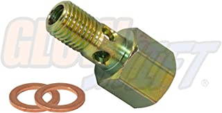 GlowShift Fuel Pressure Banjo Bolt Sensor Thread Adapter for 1998.5-2007.5 24-Valve 5.9L Dodge Ram 2500 3500 Cummins Diesel - Installs to Fuel Filter Housing - Includes Copper Crush Washers