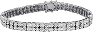 Sterling Silver Round CZ Double Row Tennis Bracelets For Women (0.22) Ct)