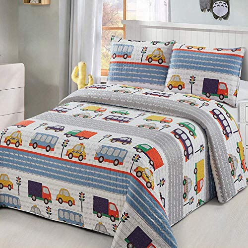 Luxury Home 3 Piece Full/Queen Size Coverlet Bedspread Quilt Set with Pillowcase Kids/Toddlers/Boys Multicolor Transportation Street Cars Trucks Bus Tax Traffic Light Blue Yellow Orange Green White