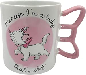 Silver Buffalo Disney's The Aristocats Because I'm A Lady Handle Ceramic Coffee 3D Sculpted Mug, 1 Count (Pack of 1), White