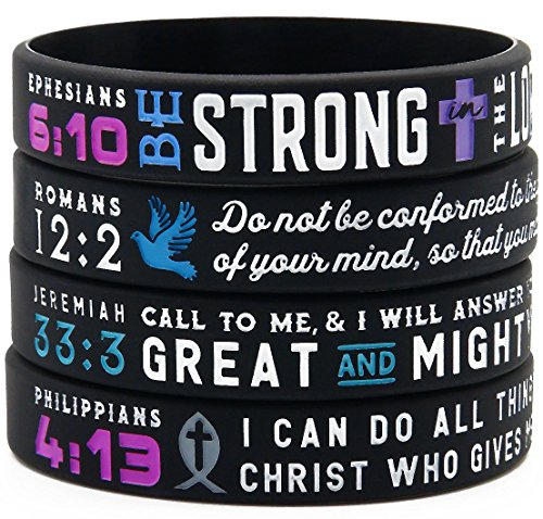 'Power of Faith' Bible Verse Wristbands - Set of 4 Silicone Bracelets with Christian Symbols and Scriptures - Religious Jewelry for Her Women
