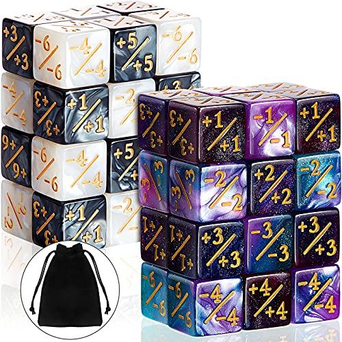 48 Piezas Dados de Contadores Simbólicos Dados de D6 Dados de Lealtad de Cubo con Bolsas de Almacenamiento Compatible con MTG, CCG, Accesorio de Juegos de Cartas, 4 Estilos