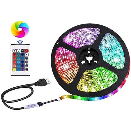 Bande lumineuse LED alimentée par USB, SMD 5050 RGB à changement de couleur avec télécommande 24 touches, rétroéclairage TV DIY, décoration d'intérieur