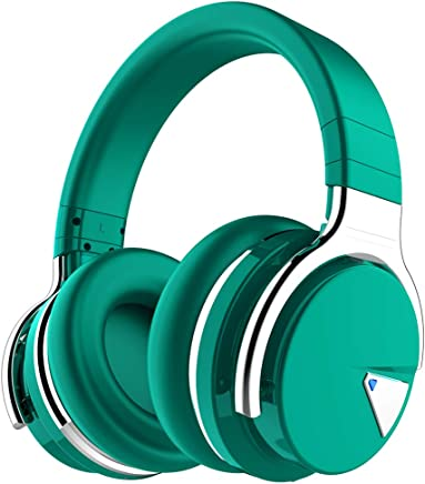 COWIN E7 Active Noise Cancelling Headphones Bluetooth Headphones with Mic Deep Bass Wireless Headphones Over Ear, Comfortable Protein Earpads, 30H Playtime for Travel Work TV PC Cellphone - Dark Green