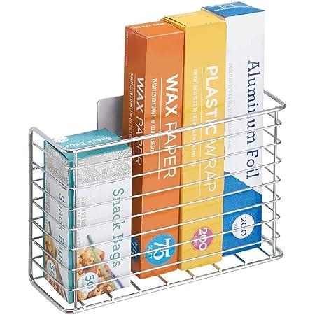 mDesign étagère de cuisine AFFIXX pour ustensiles de cuisine – panier mural à coller – étagère cuisine en métal pour papier alu et sac congélation – argent