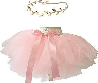 Baby Girls Tutu Outfit Gold Headband Set 1st Birthday Skirt 0-3-6-9 Month Pink