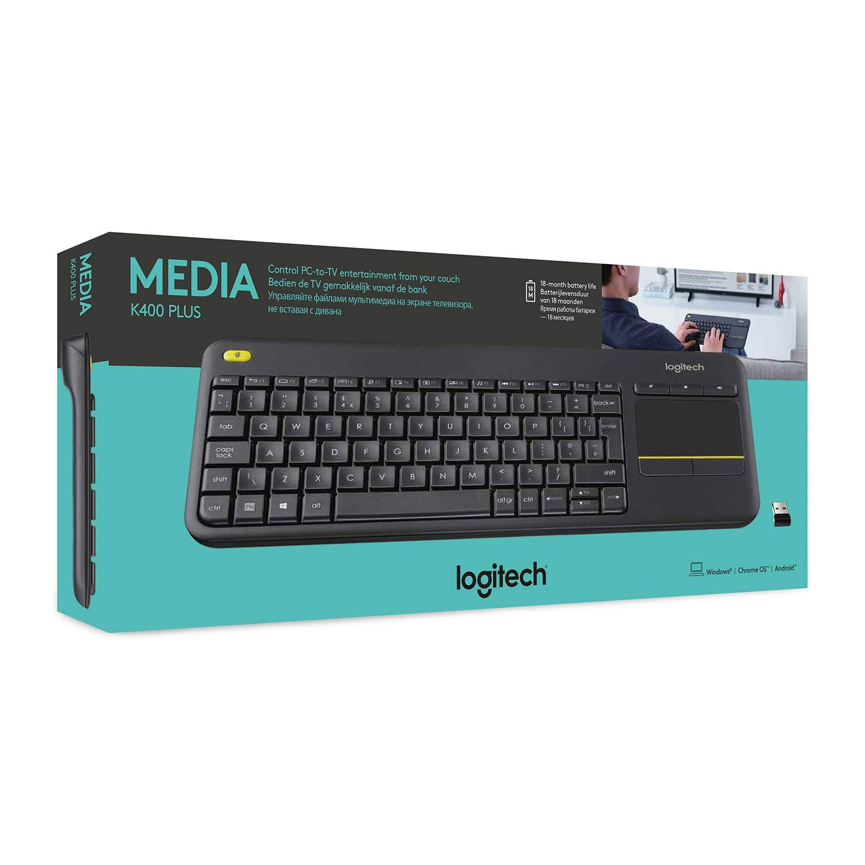 Logitech K400 Plus Teclado Inalámbrico con Touchpad para Televisores Conectados a PC, Teclas Especiales Multi-Media, Windows, Android, Ordenador/Tablet, Disposición AZERTY Francés, Negro: Logitech: Amazon.es: Informática