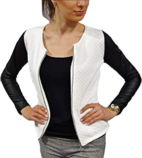 Women's Zip PU Faux Leather Patchwork Moto Biker Color Block Jacket