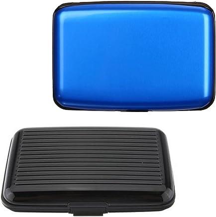 2�PCS Aluminium RFID-blockierender Halter Brieftasche, Senhai tragbar Kredit & Business Name ID Card Protector Case f�r herren women-black, blau : B�robedarf & Schreibwaren
