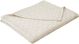Impressions All-Season Luxurious 100-Percent Cotton Basket Weave Blanket Twin Off-White BLANKET_BAS TW IV
