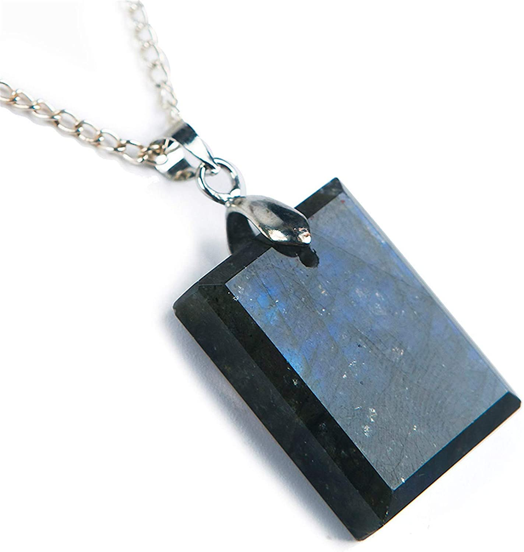 DUOVEKT Natural Labradorite Pendant for 67% OFF of fixed price Blue online shop Women Strong Li Men