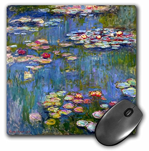 3dRose 8 x 8 x 0.25 Inches Mouse Pad, Water Lilies by Claude Monet Impressionism Impressionist Waterlilies On Pond Famous Fine Art...