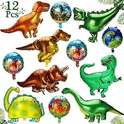 6. Gejoy Foil Dinosaur Party Balloons (12 Pieces)