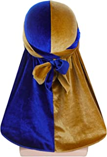 ASHILISIA Silkly Color Matching Two Tone Velvet Durag Headwraps for 360 Waves