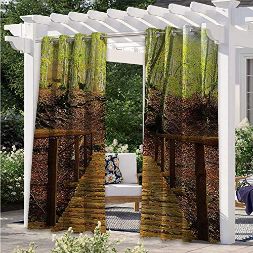 Outdoor Patio Curtain Weathered Wooden Bridge over River Leads to a Footpath between Birch Trees in Autumn Waterproof Patio Door Panel Brightened Up The Whole Pergola Green Peru W120 x L96 Inch