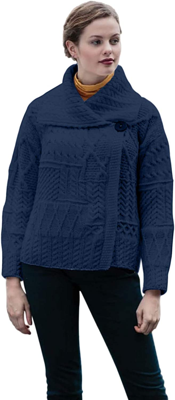Ladies Patchwork 1 Button Collar Merino Wool Irish Cardigan (Blue, X-Small)