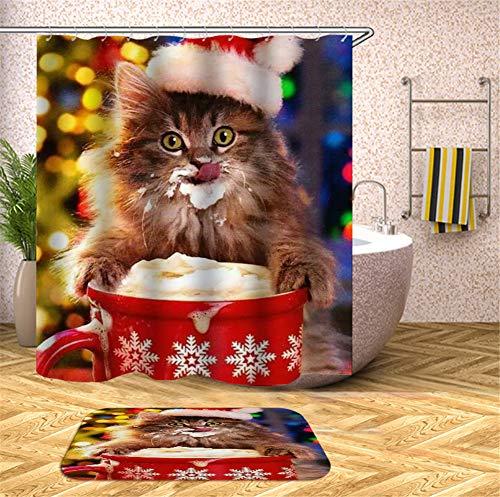 ZZZdz leuke kat drinkt bier. Tapijt. Plus fluweel. 40 x 60 cm. Douchegordijn. 3D Hd-druk. Waterdicht. 180 x 180 cm. Huisdecoratie.