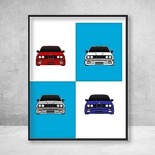 BMW M3 E30 3 Series on BMW Logo Poster Print Wall Art Decor Handmade M Power BMW M