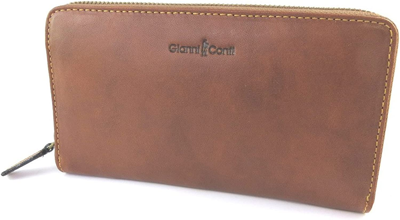 Gianni Conti [N9371]  Leather wallet + checkbook holder 'Gianni Conti' black  19x11x2 cm (7.48''x4.33''x0.79'').