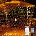 Net Lights Mesh Lights, 9.8ft x 6.6ft 200-LED with Remote Control and 10-Lighting Modes for Halloween Christmas Weddings Parties Indoor/Outdoor Decor (Warm White)