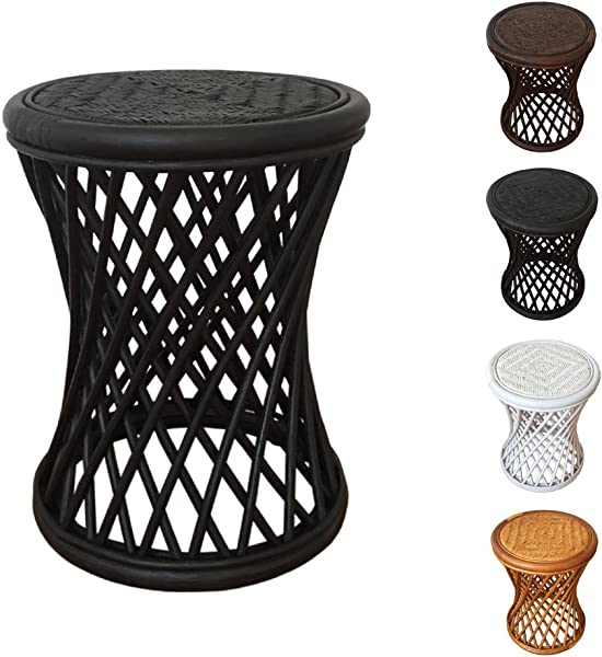Rattan Round Universal Stool Model Mikki Black