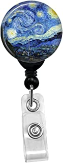 Vincent Van Gogh - The Starry Night -Retractable Badge Reel - ID Name Tag Custom Badge Holder (Black Badge Reel with Spring Pinch Clip)