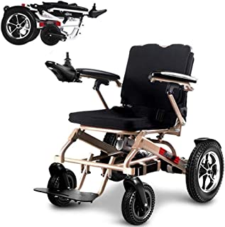 Sillas de ruedas eléctricas para adultos Silla de ruedas eléctrica plegable portátil ligero, plegable plegable de alimentación compacto ayuda motriz sillas de ruedas, batería dual, más larga gama de c