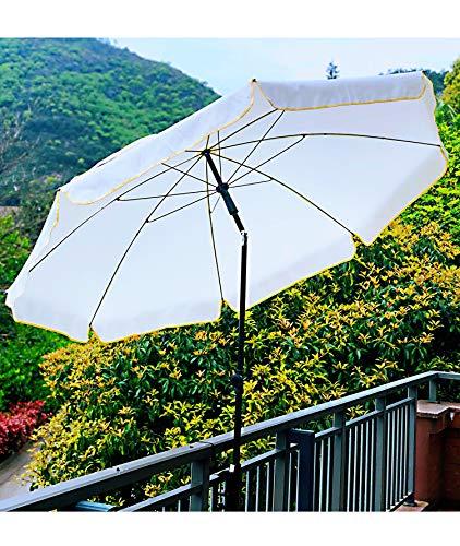 AMMSUN 6.5ft 200cm Gartenschirm with Tilt Steel Pole Portable Terrassenschirm Sonnenschirm UV 100 (Weiß)