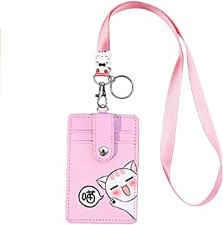 Cute Neck Pouch, Student ID Credit Card Case Badge Holder Cartoon Shield Small Fashion Lanyard Coin Wallet Purse Keychain Panda/Cat (Pink)