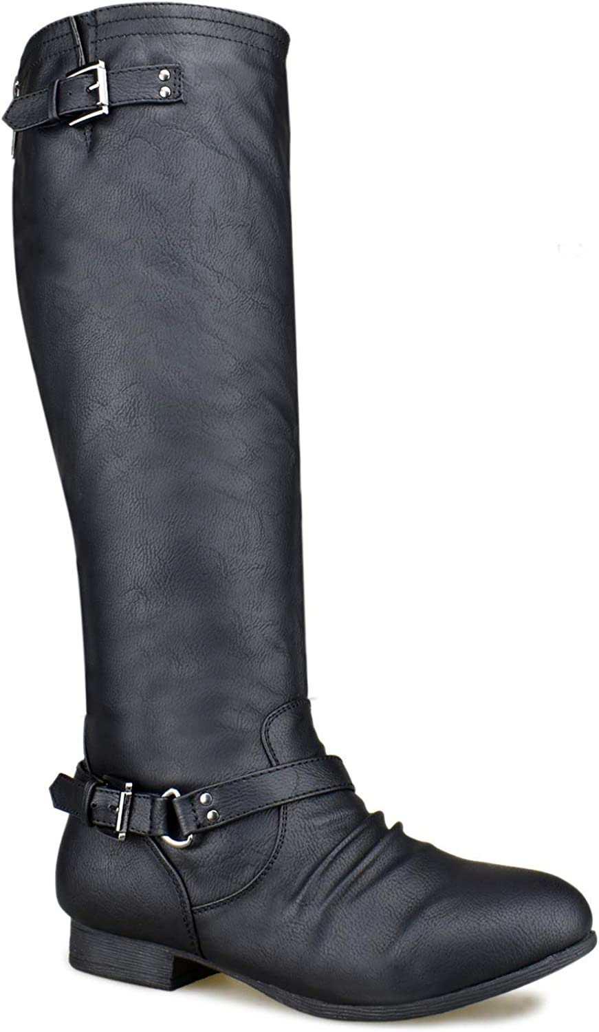 MODEOK Women's Quilted Side Zip Knee High Flat Riding Boots - High Heel shoes - Sexy Knee High Boot - Easy Heel