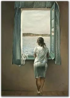 Aawerzhonda Affisch konstverk kvinnan vid fönstret Salvador Dali affisch och tryck väggkonst bilder väggdekor 60 x 90 cm