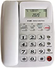 $34 » JeKaVis J-P50 Desk Corded Phone, Landline Phone for Small Business and House, Support for Hands-Free Calling, Speed Dial and LCD Display (White)