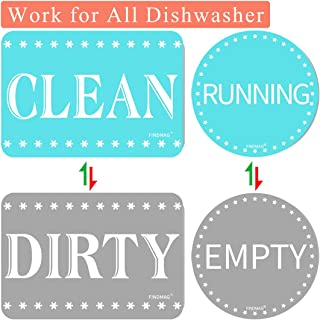 FINDMAG Dishwasher Magnet Clean Dirty Sign, Strongest Magnet Double Sided Flip with Metal Plate - Universal Kitchen Dish Washer Reversible Indicator (Blue-Gray, 2)