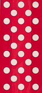 Unique Decorative Dot Cello Bag 20-Pieces, Ruby Red