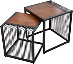 HTTXCJ Retro Solid Wood Coffee Table,Sofa Side Table,Set of 2 Cocktail Table Wrought Iron Frame Accent Furniture for Livin...