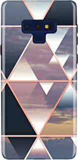 JIAXIUFEN Galaxy Note 9 Case Shiny Rose Gold Metallic Triangle Colorful Marble Design Clear Bumper TPU Soft Rubber Silicone Cover Phone Case for Samsung Galaxy Note 9