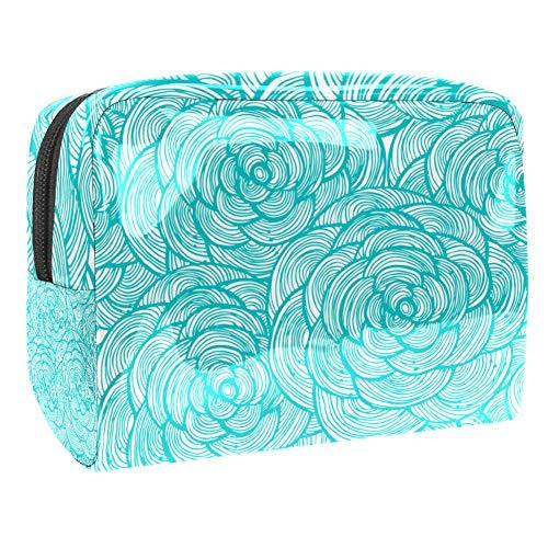 Trousse de toilette multifonction pour femme avec motifs géométriques linéaires turquoises