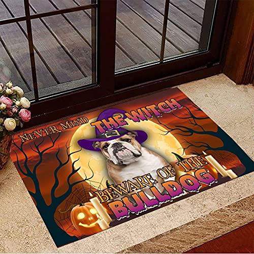 """TIANTURNM Felpudo Interior para Puerta Nunca el Cuidado de Bulldog Felpudo de Halloween Merch Regalo Divertido del dueño del Perro de Halloween hogar Regalo inauguración casa 20""""x32"""""""